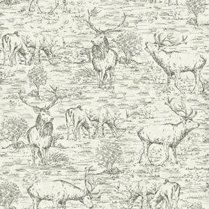 Rustic Living Stag Toile Black Wallpaper