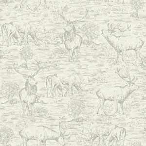 Rustic Living Stag Toile White and Off White Wallpaper