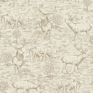 Rustic Living Stag Toile Brown Wallpaper
