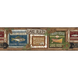 Rustic Living Lake Rules Brown Border