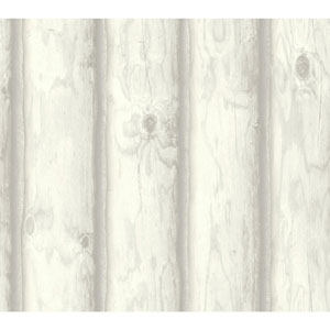 Rustic Living Mountain Logs White and Off White Wallpaper