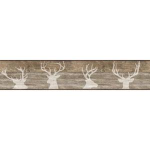 Rustic Living Deer Silhouette Brown Border