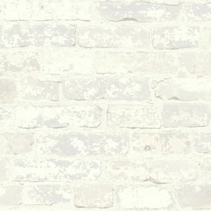 Rustic Living Stuccoed Brick White and Off White Wallpaper