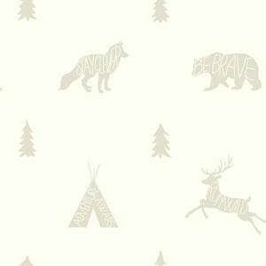 Young At Heart Run Wild White and Off White Wallpaper