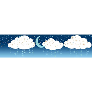 Young At Heart Night Sky Blue and Off White Border