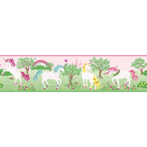 Young At Heart Magic Unicorn Pink and Green Border