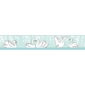 Young At Heart Swimming Swans Green and Black Border