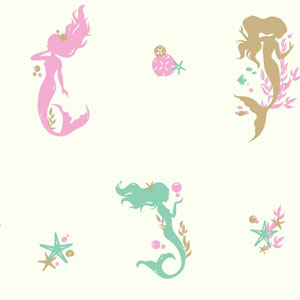 Young At Heart Mermaids Blue, Beige and Pink Wallpaper