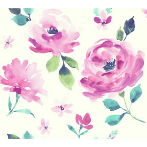 Young At Heart Watercolor Blooms Pink, Blue and Green Wallpaper