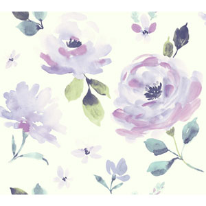 Young At Heart Watercolor Blooms Purple and Green Wallpaper