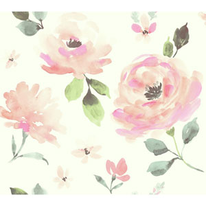 Young At Heart Watercolor Blooms Pink, Orange and Green Wallpaper