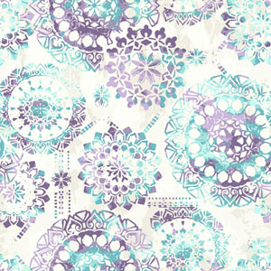 Young At Heart Bohemian Purple, Blue and Beige Wallpaper