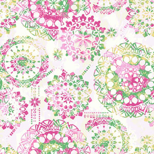 Young At Heart Bohemian Pink, Green and Yellow Wallpaper
