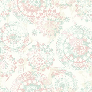 Young At Heart Bohemian Green, Pink and Beige Wallpaper