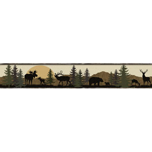 Lake Forest Lodge Scenic Silhouette Border