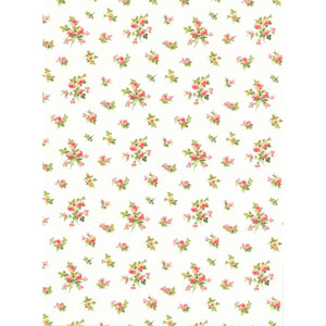 Casabella II White Mini Rose Toss Wallpaper
