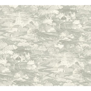Homestead Gray and Off White Removable Wallpaper