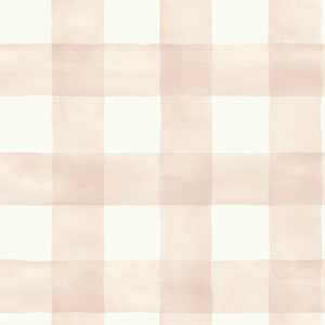 Watercolor Check Pink and White Removable Wallpaper