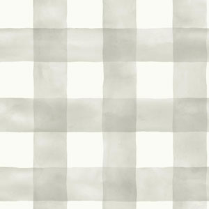 Watercolor Check Gray and White Removable Wallpaper