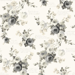 Heirloom Rose Gray and White Removable Wallpaper