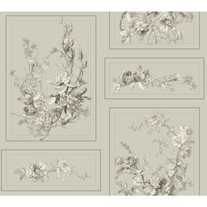 The Magnolia Brown and Gray Removable Wallpaper
