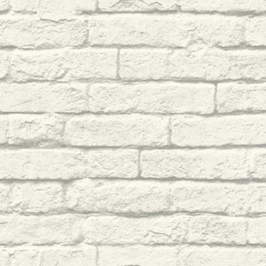 Brick-and-Mortar White and Gray Removable Wallpaper