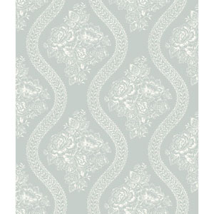Coverlet Floral White and Blue Removable Wallpaper