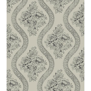 Coverlet Floral Black and Gray Removable Wallpaper