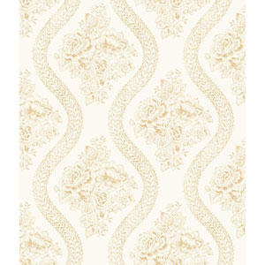 Coverlet Floral Yellow and Off White Removable Wallpaper