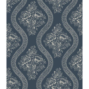 Coverlet Floral Gray and Blue Removable Wallpaper