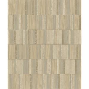 Mixed Materials Taupe and Blonde Wood Veneer Wallpaper