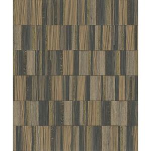 Mixed Materials Black and Gold Wood Veneer Wallpaper