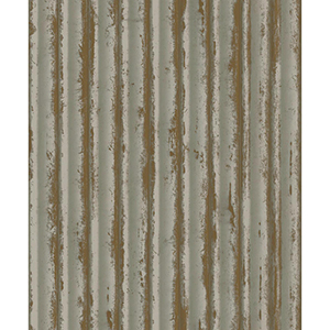 Mixed Materials Taupe and Gold Weathered Metal Wallpaper