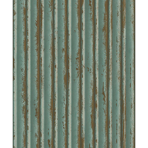 Mixed Materials Teal and Gold Weathered Metal Wallpaper