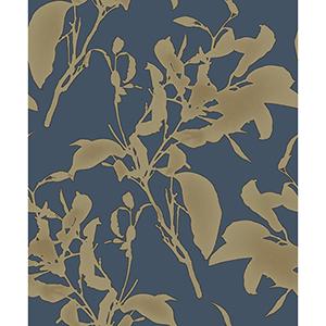 Mixed Materials Navy and Gold Botanical Wallpaper