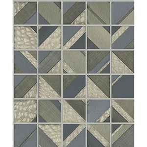 Mixed Materials Blue and Warm Gray Patchwork Tile Wallpaper
