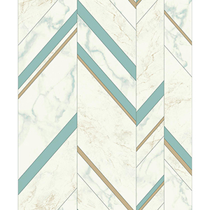 Mixed Materials Turquoise and Gold Chevron Wallpaper