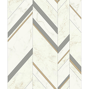 Mixed Materials Gray and Gold Chevron Wallpaper