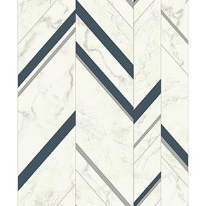 Mixed Materials Navy and Silver Chevron Wallpaper