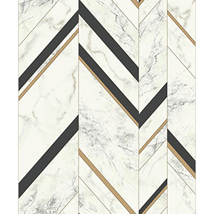 Mixed Materials Black and Gold Chevron Wallpaper
