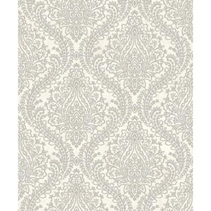 Mixed Metals Tattersall Damask Wallpaper