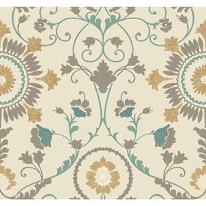 Carey Lind Modern Shapes Beige and Aqua Enamel Ornament Wallpaper