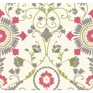 Carey Lind Modern Shapes White and Pink Enamel Ornament Wallpaper