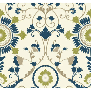 Carey Lind Modern Shapes White and Dark Blue Enamel Ornament Wallpaper