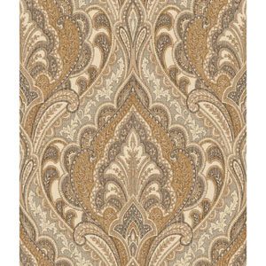 Menswear Hemmingway Brown and Metallic Removable Wallpaper