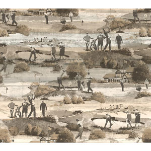 Menswear The Old Course Brown Removable Wallpaper