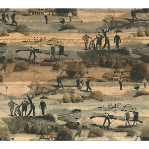 Menswear The Old Course Black and Brown Removable Wallpaper