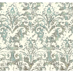 Cloud Nine Batik Damask Black and Blue Removable Wallpaper