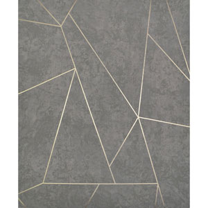 Antonina Vella Modern Metals Nazca Dark Grey and Gold Wallpaper