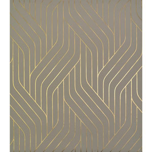 Antonina Vella Modern Metals Ebb And Flow Khaki and Gold Wallpaper